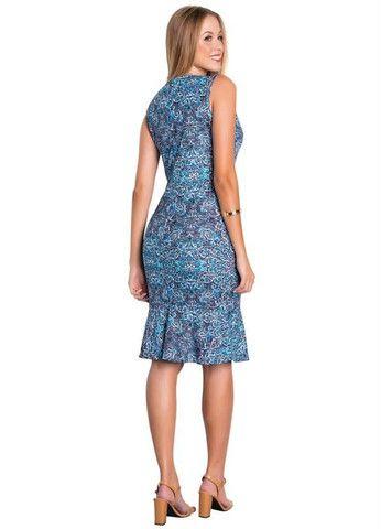Vestido Tubinho Moda Evangélica com Babado Azul - Foto 5