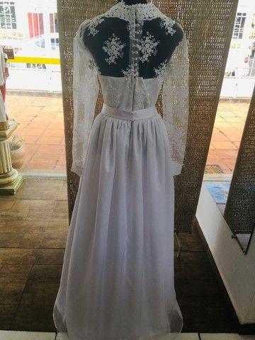 Vestido de noiva NOVO gazar e renda - Foto 4
