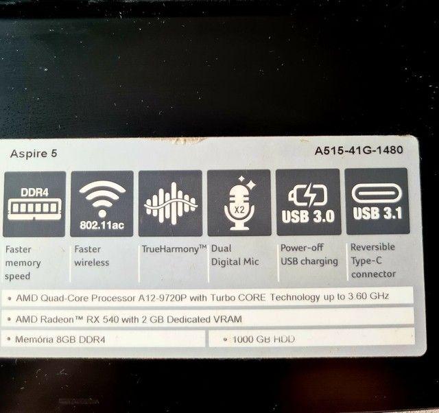 Notebook Acer Aspire 5 - Placa de vídeo AMD Radeon RX 540 - 1TB HD - Foto 3