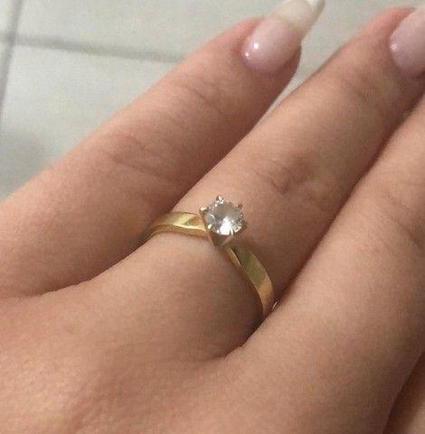 Anel, Aliança, Solitário, noivado, ouro 18k - Foto 3