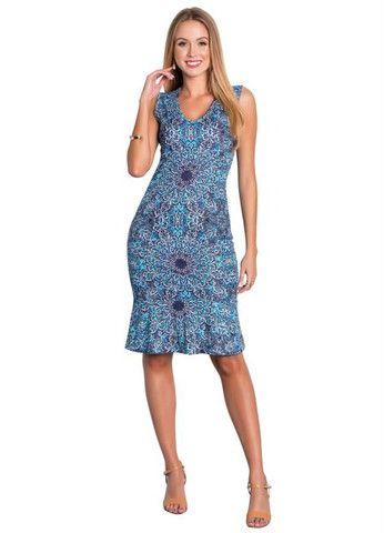 Vestido Tubinho Moda Evangélica com Babado Azul - Foto 3