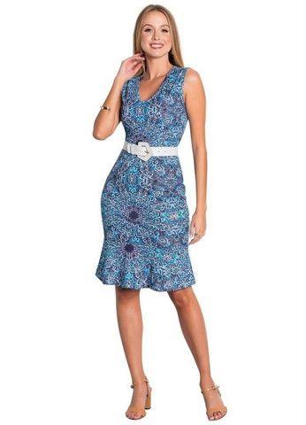 Vestido Tubinho Moda Evangélica com Babado Azul - Foto 4