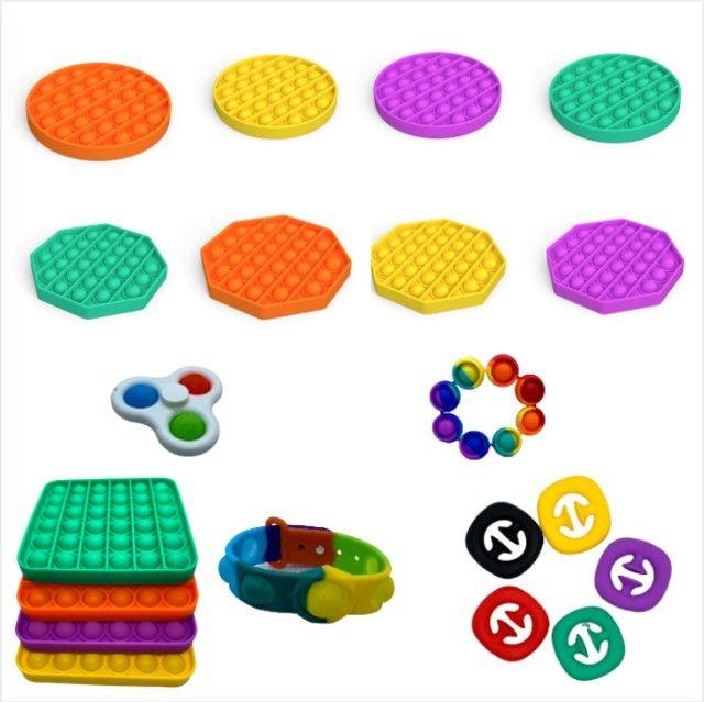 Kit 3 Brinquedos Fidget Toy Pop It  Anti Stress Sensorial