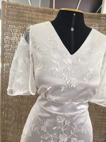 Vestido de noiva NOVO renda manga - Foto 2