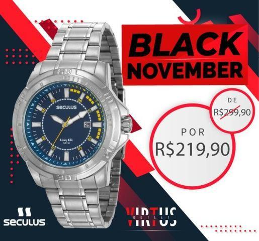 Mega Promoção Relógio Seculus, Masculino, Original, Garantia, Aço Inoxidável