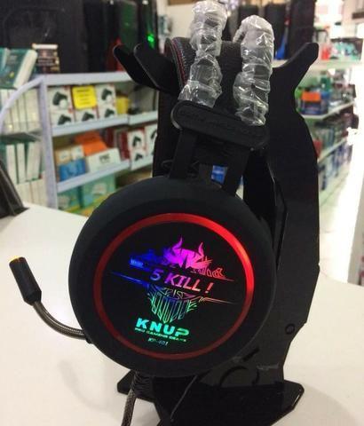 Fone De Ouvido Headset Game Usb Microfone Knup Kp-401 Novo - Foto 5