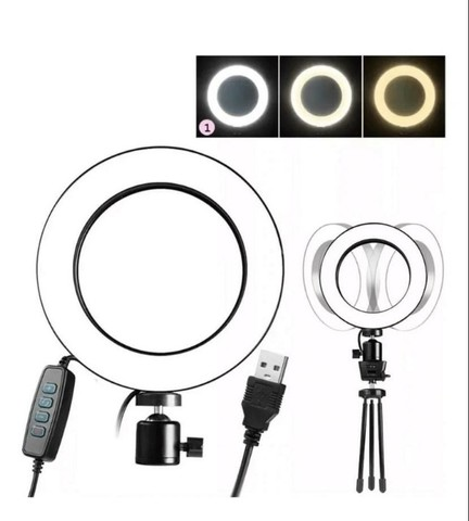 Ring Light Led Iluminador 26cm Completo 2,1m Tripé 210cm - Foto 4