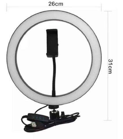 (Novo) Ring Light 26 cm com Tripé de 2 metros - Foto 2