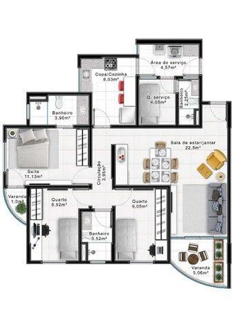 3 quartos 103 m² - Águas Claras - Entrada 25% - Edifício Costa Azul - Foto 3