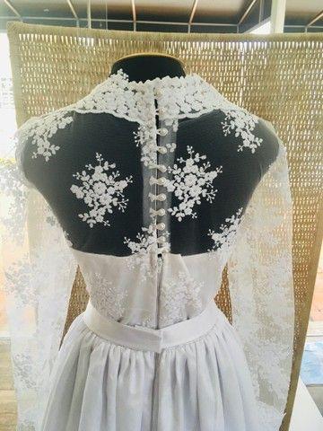 Vestido de noiva NOVO gazar e renda - Foto 5