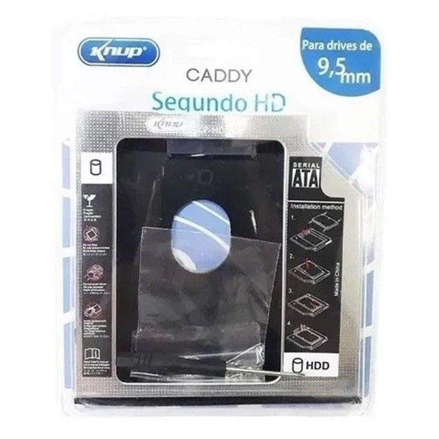 Adaptador Caddy 12.7mm 9.5 mm Case Hd Ou Ssd 2.5´ Knup - Foto 2
