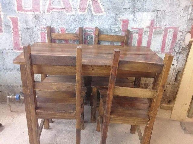 Jogo de mesa casa e comércio c/ 4 cadeiras, eucalipto. Envernizada, com garantia. Entrego. - Foto 6