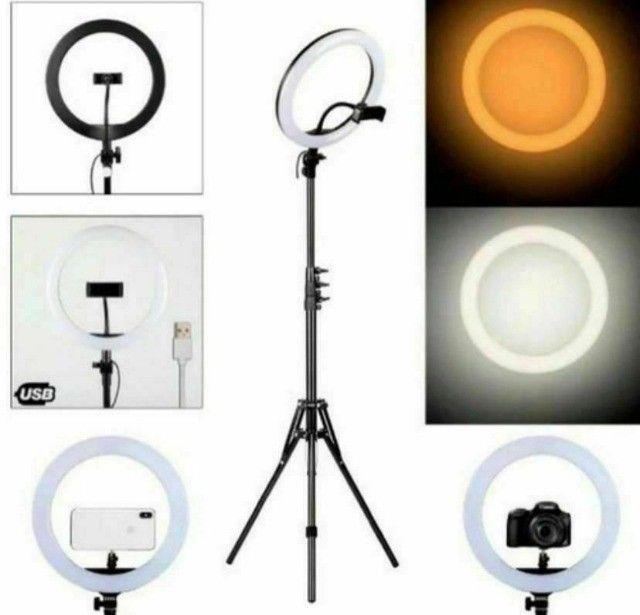 Ring Light Led Iluminador 26cm Completo 2,1m Tripé 210cm - Foto 6