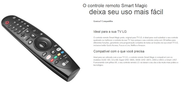 controle remoto smart magic lg novos entregamos - Foto 2
