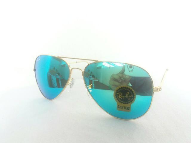 6e9f580b5 Óculos de sol Ray Ban Aviador azul espelhado novo - Bijouterias ...