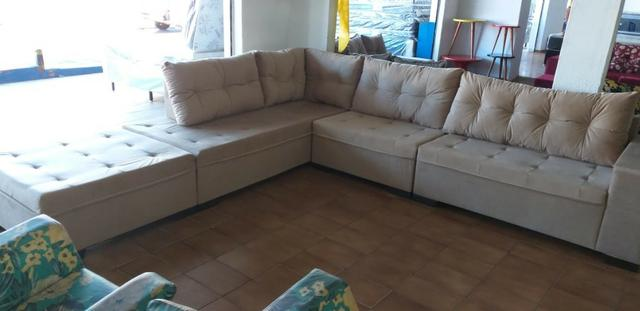 Sofa de canto gigantesco 3.32x206/ puff enorme tbm/ 1400 a vista/10x159 cartao - Foto 4