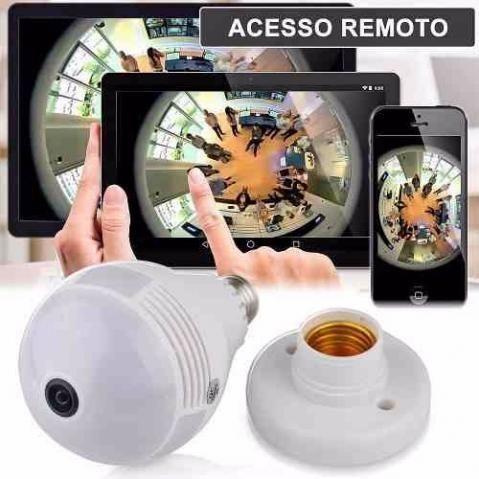 Lâmpada Câmera Vr Cam Wifi Ip Hd Panorâmica 360º Espiã - Áudio, TV ... 35b6191236