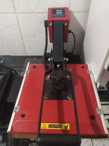 Prensa térmica plana 40x40 mais impressora - Foto 4
