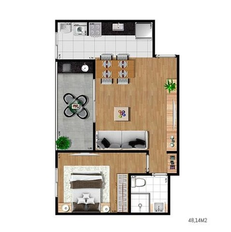 Apartamento 1 e 2 dorms no Aquarius - Foto 7