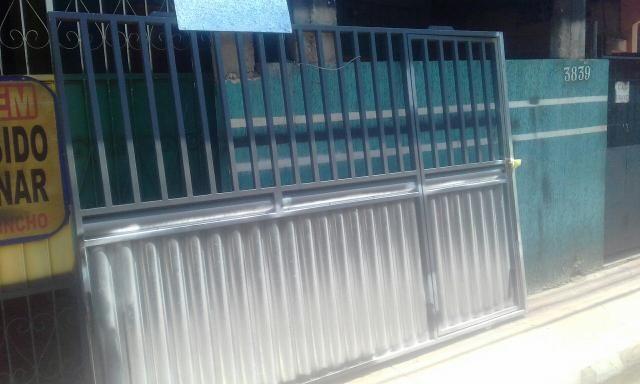 Portão novo zero em chapa de ferro com metalon grosso - Foto 6