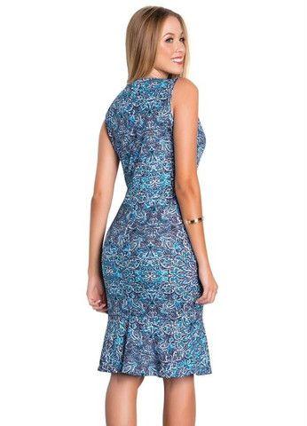 Vestido Tubinho Moda Evangélica com Babado Azul - Foto 2