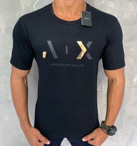 Camiseta Armani Exchange - Tamanhos P, M, G e GG - R$ 54,99.