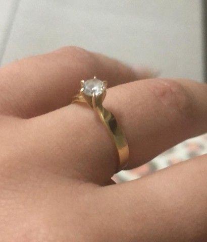 Anel, Aliança, Solitário, noivado, ouro 18k - Foto 2