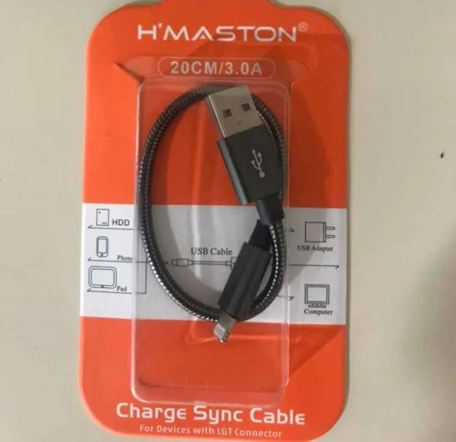 LIQUIDAÇÃO Kit Com 2 Mini Cabo USB H'Maston Com 20cm Para Celular iPhone - Foto 2