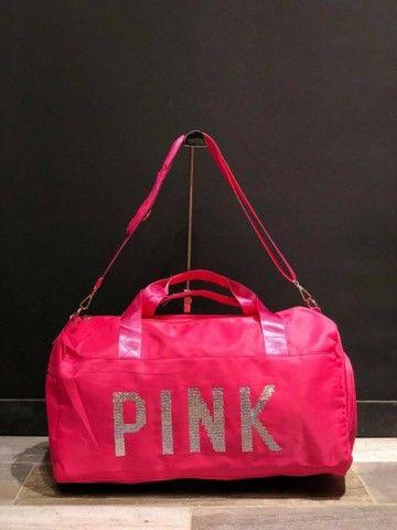 <br>Bolsa De Academia Mala De Viagem Impermeável Pink <br><br><br> - Foto 2