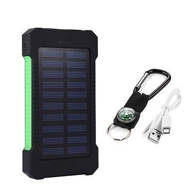 74237a03254 Novo Carregador Portatil A prova D´água Energia Solar 2 entrada usb ...