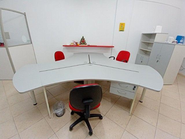 "Mesa Escritorio angular 120° 3 unidades(ilha), usadas, ""Bortolini"""
