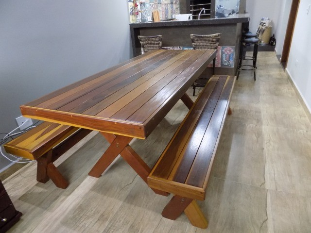 Conjunto de mesa com bancos 2mt em promoção - Foto 2
