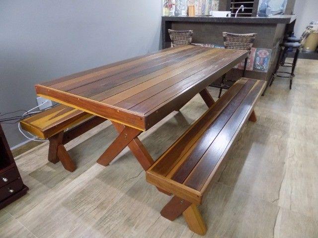 Conjunto de mesa com bancos 2mt em promoção - Foto 4