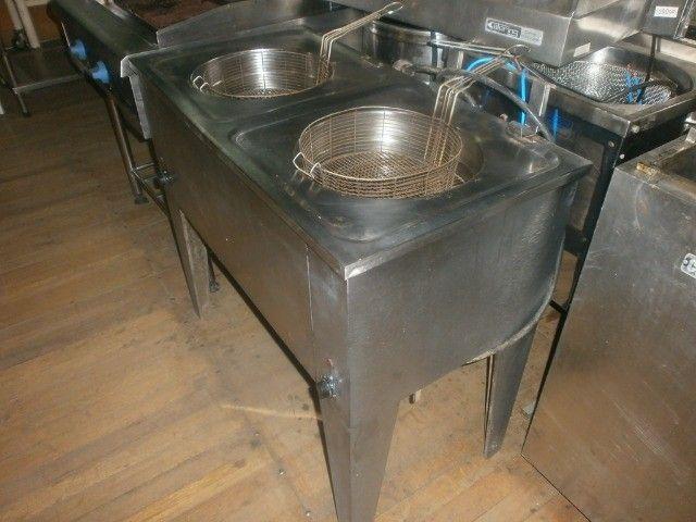 fritadeira industrial - agua e óleo - dupla - 220 volts - inox