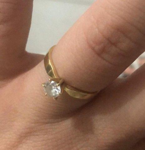 Anel, Aliança, Solitário, noivado, ouro 18k