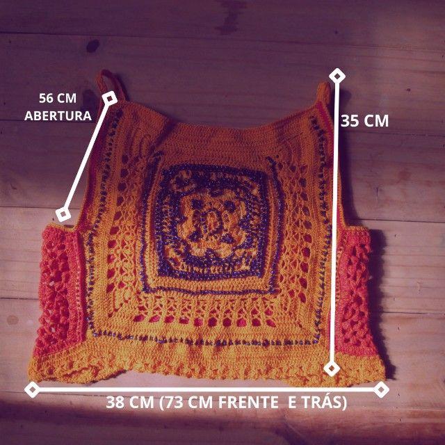 Blusa Cropped de crochê com aplicação de missangas NOVO  - Foto 3