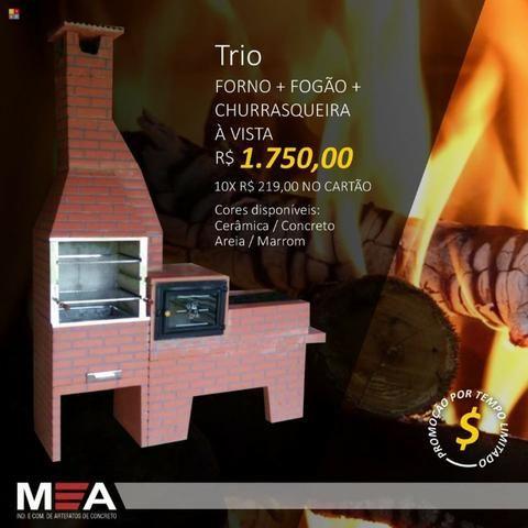 Trio estampado tijolinho pintado é na MA Churrasqueiras