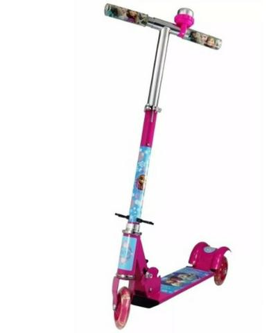Patinete Infantil Frozen 3 Rodas Com Luzes Rosa Ferro
