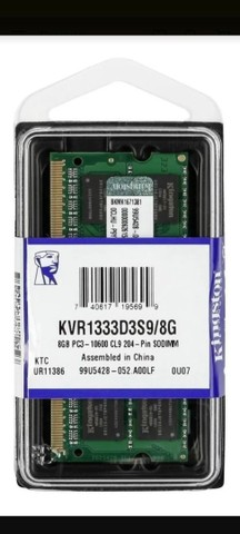 Memória Notebook RAM ValueRAM 8GB 1x8GB Kingston KVR1333D3S9/8G