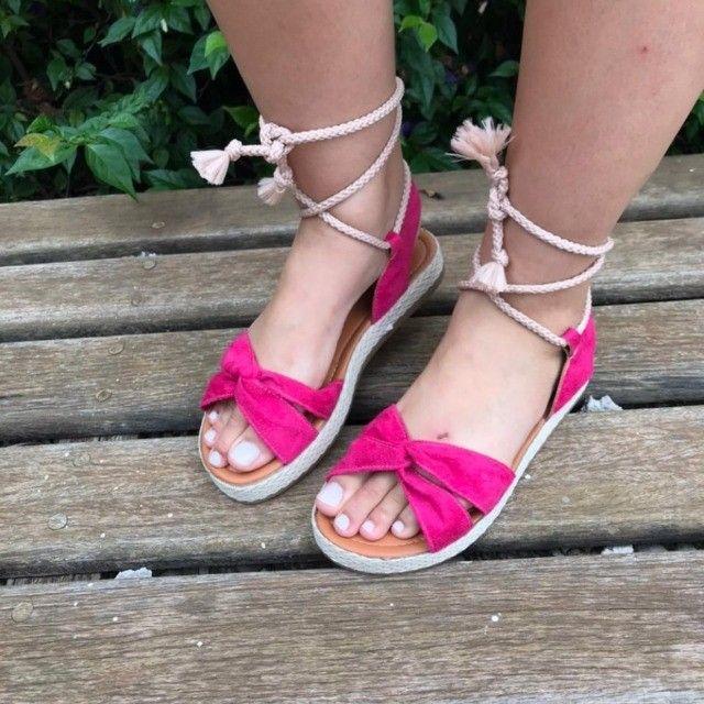Sandália Feminina Anabela Flatform Corda De Amarrar Na Perna Pink - Foto 4