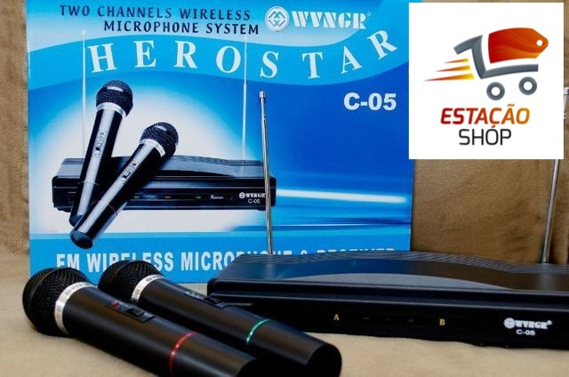Kit c/ 2 Microfones Hero Star - Levamos até vc!!!