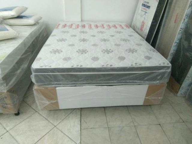Cama Box Casal Espuma D28 - Colchão Gold Flex Plus + Base Viena Cinza - Plumatex