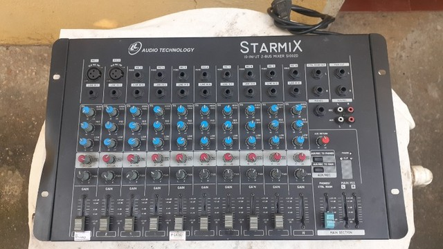 Mesa de som Starmix 10 canais   funcionando