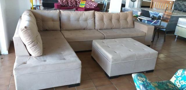 Sofa de canto gigantesco 3.32x206/ puff enorme tbm/ 1400 a vista/10x159 cartao - Foto 5