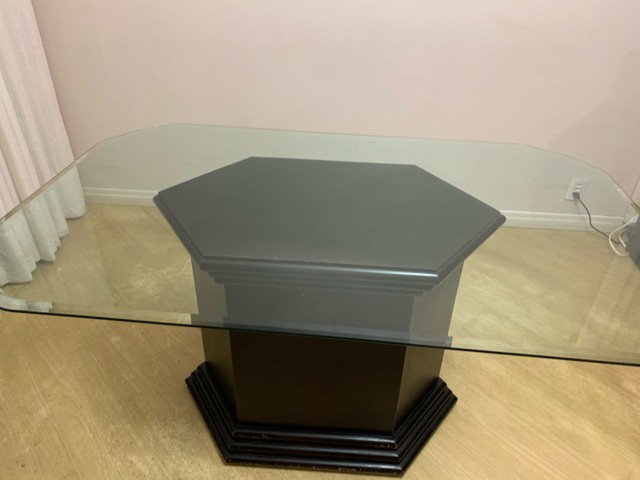 Mesa de jantar tampo de vidro retangular 1,60x1,00x0,78
