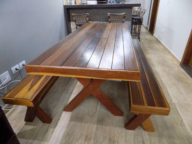 Conjunto de mesa com bancos 2mt em promoção - Foto 3
