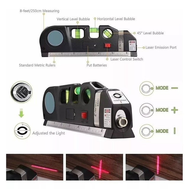Nível a Laser Com Trena*Trena*Nível 3 estágio*