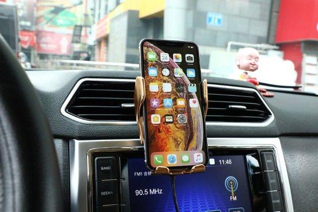 Carregador De Carro Suporte 10w Qi Sem Fio Gps Telefone Móv - Foto 2