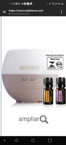 Difusor pental doterra + 2 óleos essenciais doterra
