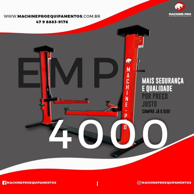 Equipamento Novo   Elevador Automotivo Trifásico   Capacidade 4000 Kg